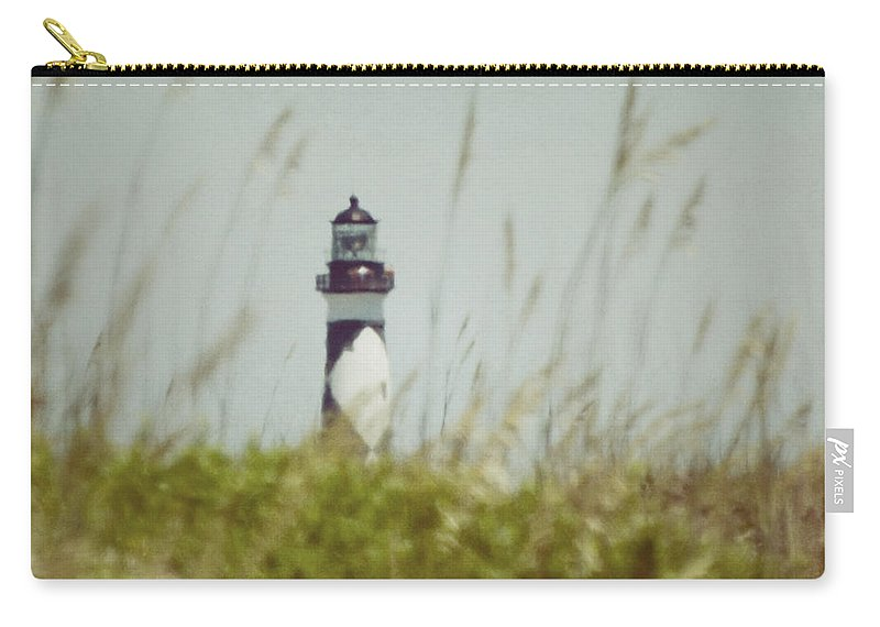 Cape Lookout Lighthouse Carry-all Pouch featuring the photograph Cape Lookout Lighthouse - Vintage by Kerri Farley