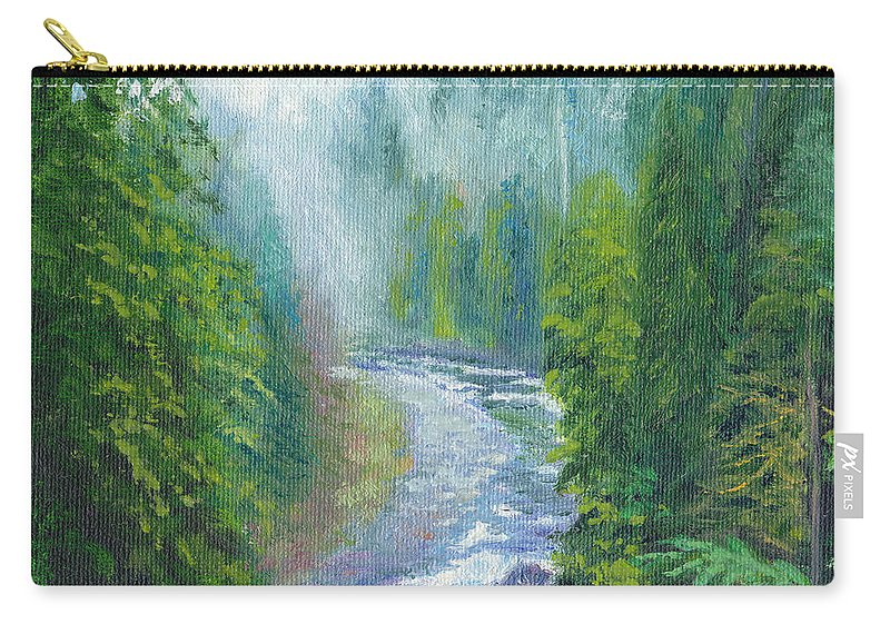 Rapids Carry-all Pouch featuring the painting Capilano Mists by Dai Wynn