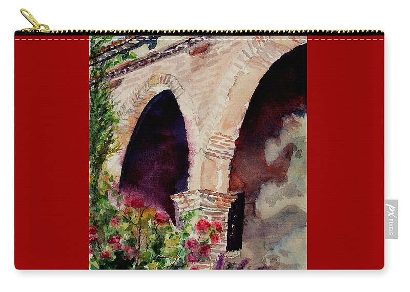Watercolor Carry-all Pouch featuring the painting Capistrano Arches by Mary Benke