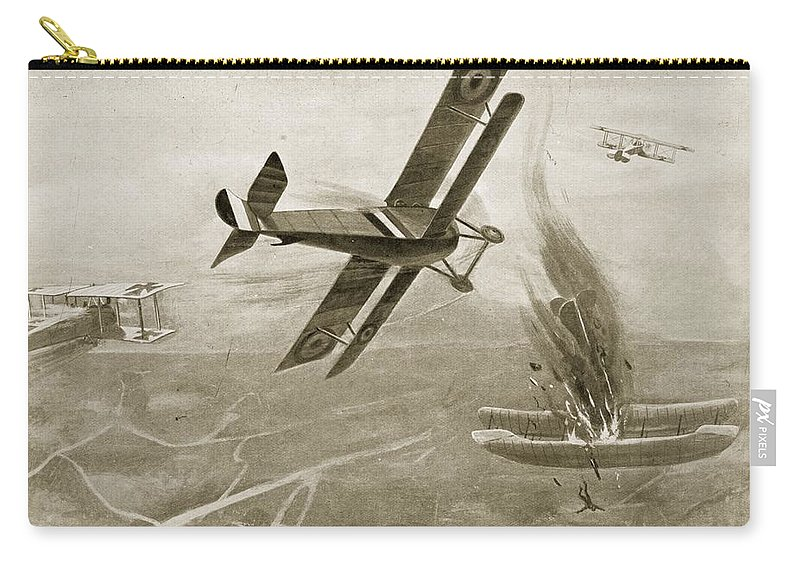 Passchendaele Carry-all Pouch featuring the drawing Captain Hawkers Aerial Battle by W. Avis