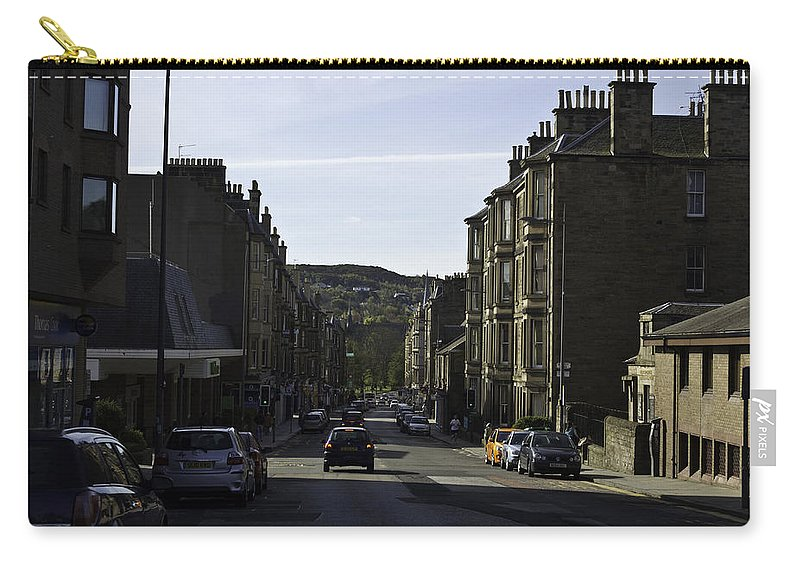 Action Carry-all Pouch featuring the photograph Car In A Queue Waiting For A Signal In Edinburgh by Ashish Agarwal
