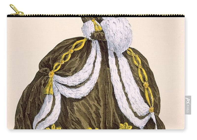 Clothing Carry-all Pouch featuring the drawing Caramel Dress For Presentation by Augustin de Saint-Aubin
