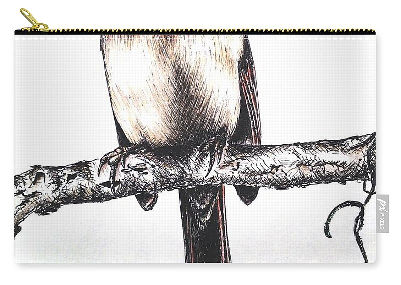 Ink Sketch Carry-all Pouch featuring the drawing Cardinal Female by Katharina Filus