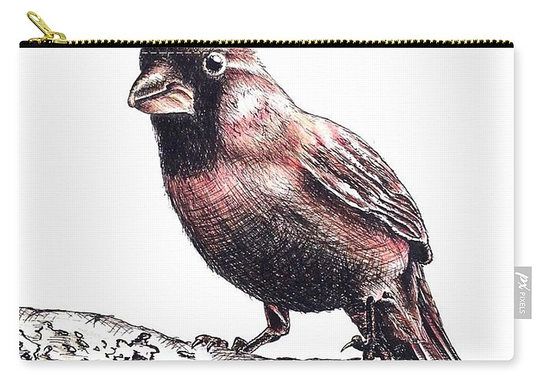 Ink Sketch Carry-all Pouch featuring the drawing Cardinal Male by Katharina Filus