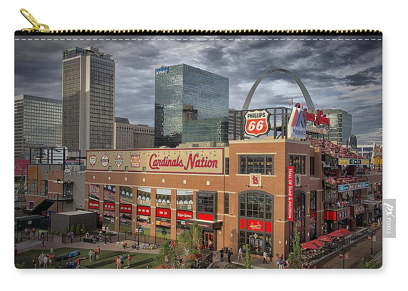 St. Louis Cardinals Carry-all Pouch featuring the photograph Cardinals Nation Ballpark Village Dsc06175 by Greg Kluempers