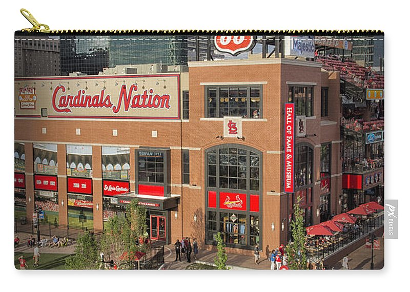 St. Louis Cardinals Carry-all Pouch featuring the photograph Cardinals Nation Ballpark Village Dsc06176 by Greg Kluempers