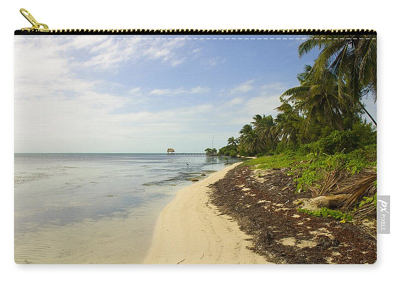 Belize Carry-all Pouch featuring the photograph Caribbean Beach In Ambergris Caye Belize by Brandon Bourdages