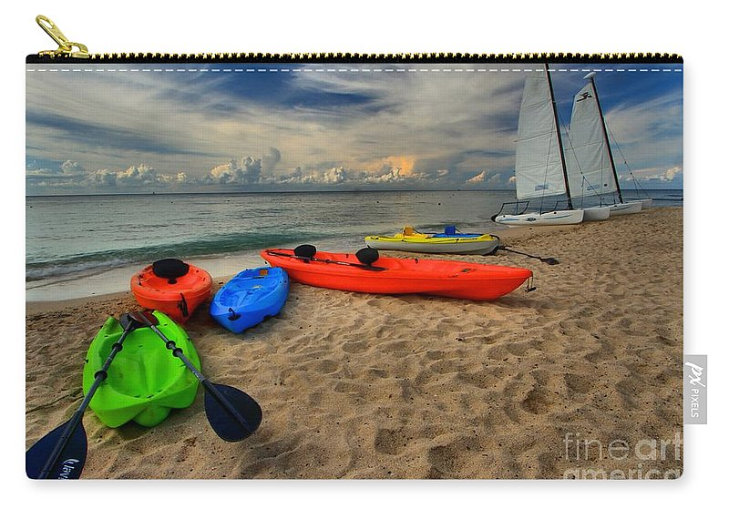 Caribbean Ocean Carry-all Pouch featuring the photograph Caribbean Kayaks by Adam Jewell