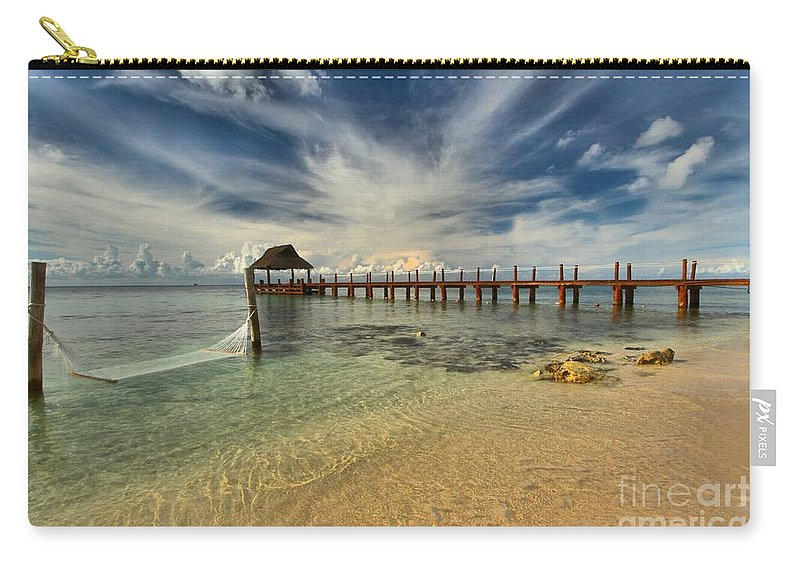Caribbean Ocean Carry-all Pouch featuring the photograph Caribbean Ocean Pier by Adam Jewell