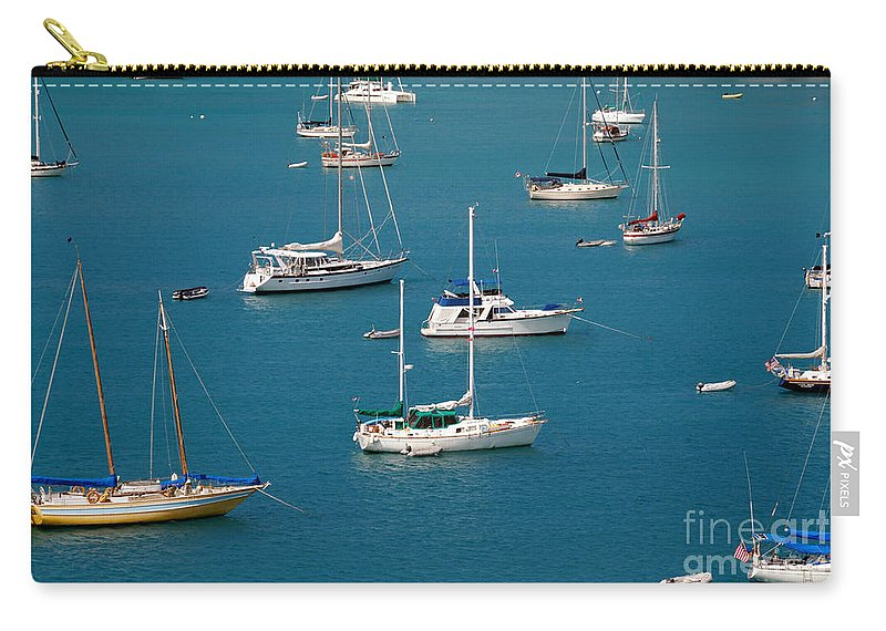 Azure Waters Carry-all Pouch featuring the photograph Caribbean Sailboats by Amy Cicconi