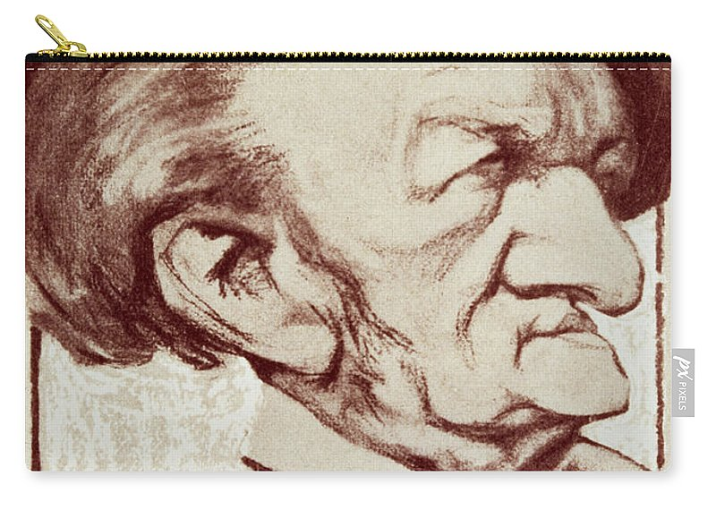 Crt Carry-all Pouch featuring the drawing Caricature Of Richard Wagner by Anonymous