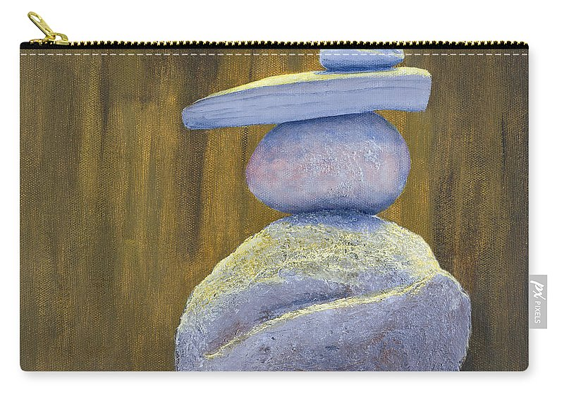 Still-life Carry-all Pouch featuring the painting Carins 1 Balance by Garry McMichael
