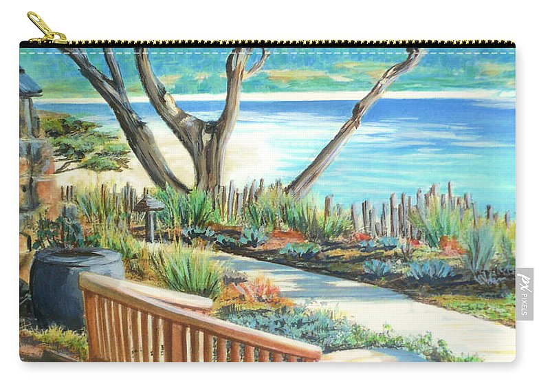 Carmel Carry-all Pouch featuring the painting Carmel Lagoon View by Jane Girardot