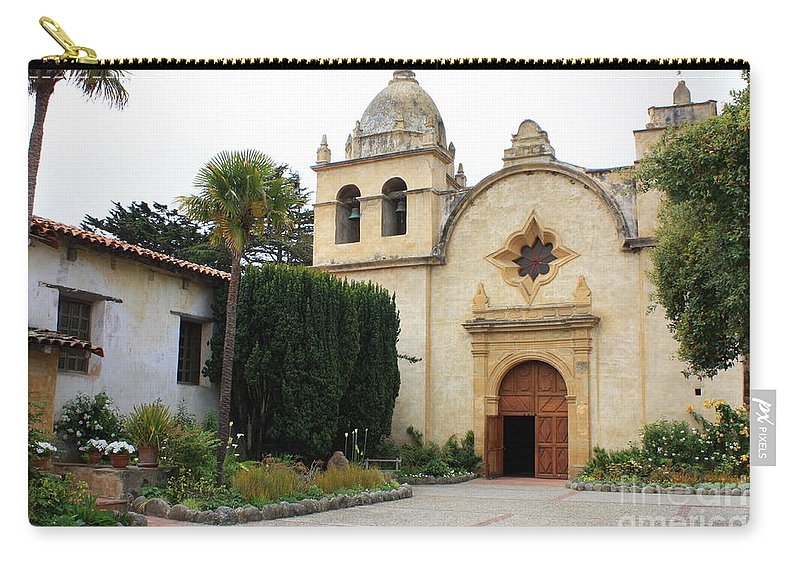 Carmel Mission Church Carry-all Pouch featuring the photograph Carmel Mission Church by Carol Groenen