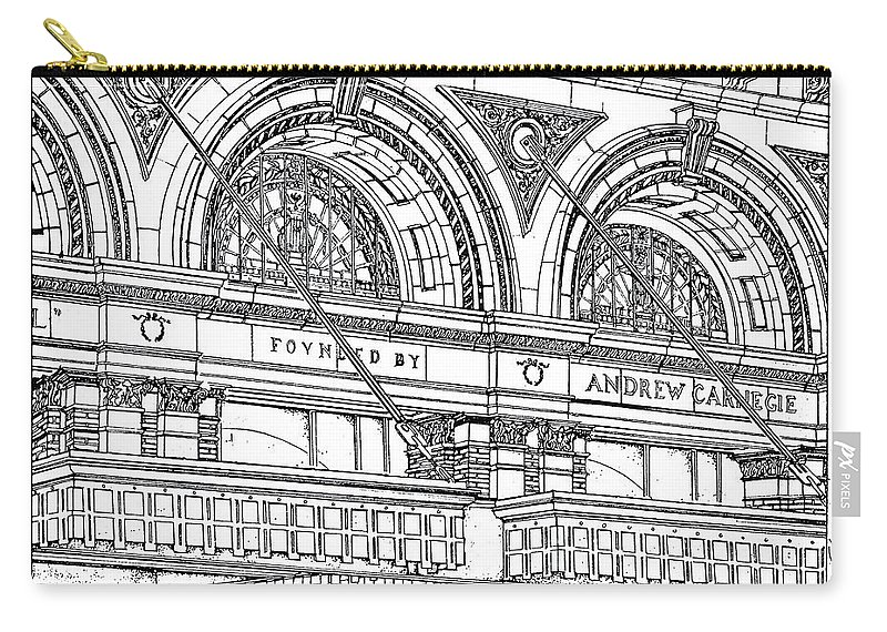 Carnegie Hall Carry-all Pouch featuring the drawing Carnegie Hall by Ira Shander