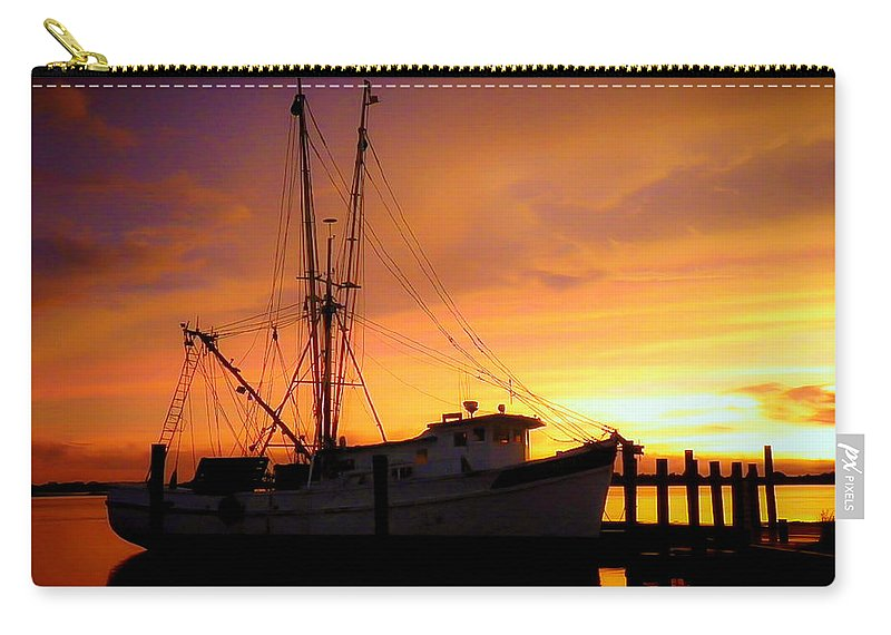 Shrimp Trawlers Carry-all Pouch featuring the photograph Carolina Morning by Karen Wiles