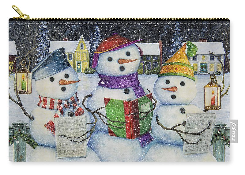 Snowmen Carry-all Pouch featuring the painting Caroling by Lynn Bywaters