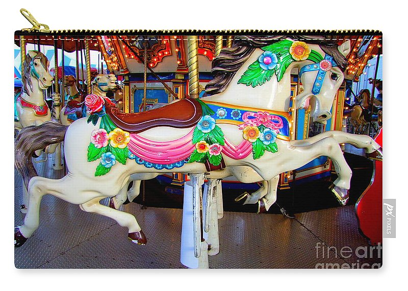 Carousel Horse Carry-all Pouch featuring the photograph Carousel Horse With Flower Drape by Mary Deal