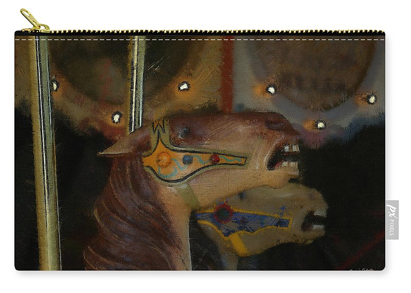 Carousel Horse Painterly Carry-all Pouch featuring the digital art Carousel Horses Painterly by Ernie Echols