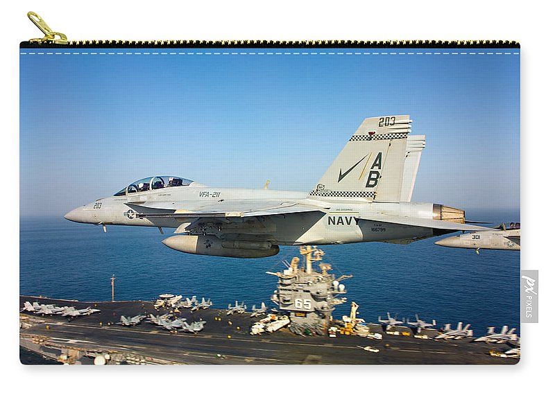 Sailors Carry-all Pouch featuring the photograph Carrier Below by Ricky Barnard