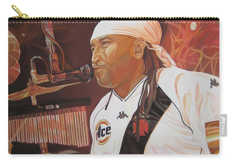 Carter Beauford Carry-all Pouch featuring the drawing Carter Beauford At Red Rocks by Joshua Morton