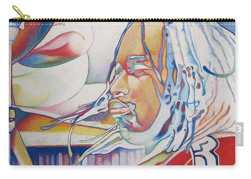 Carter Beauford Carry-all Pouch featuring the drawing Carter Beauford Colorful Full Band Series by Joshua Morton