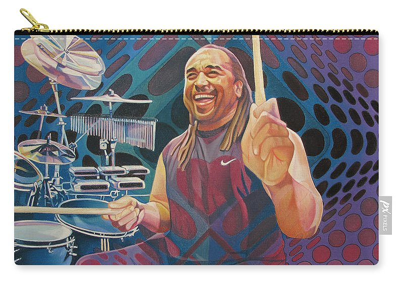 Carter Beauford Carry-all Pouch featuring the drawing Carter Beauford Pop-op Series by Joshua Morton