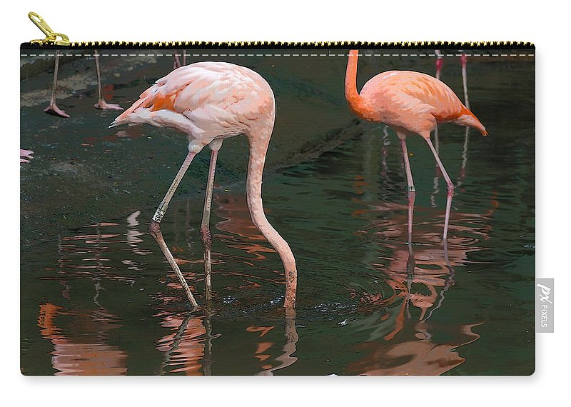 Asia Carry-all Pouch featuring the digital art Cartoon - A Flamingo With Its Head Under Water In The Jurong Bird Park by Ashish Agarwal