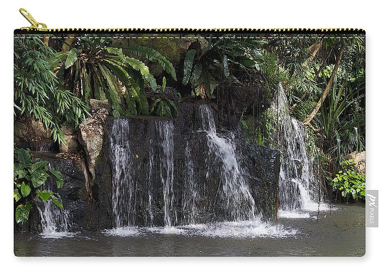 Asia Carry-all Pouch featuring the digital art Cartoon - A Waterfall As Part Of An Exhibit Inside The Jurong Bird Park by Ashish Agarwal