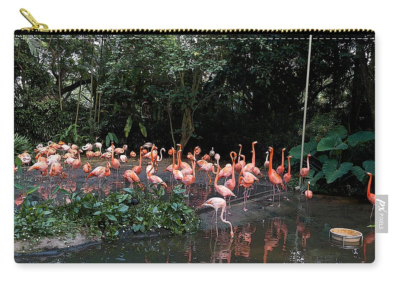 Asia Carry-all Pouch featuring the digital art Cartoon - Flamingos In Their Exhibit Along With A Small Lake In The Jurong Bird Park by Ashish Agarwal