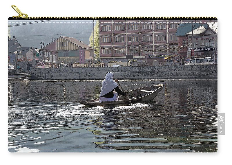 Action Carry-all Pouch featuring the photograph Cartoon - Light Following This Lady On A Wooden Boat On The Dal Lake In Srinagar by Ashish Agarwal
