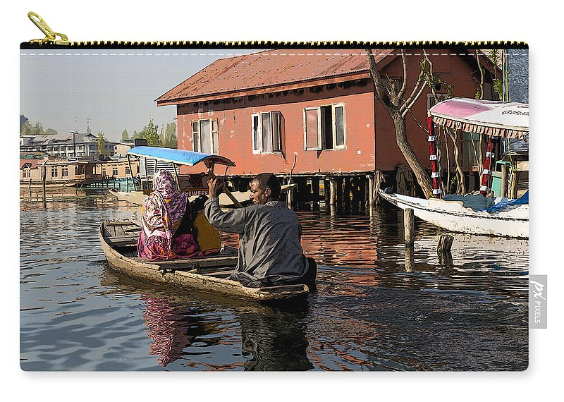 Action Carry-all Pouch featuring the digital art Cartoon - Man Rowing A Family In A Wooden Boat by Ashish Agarwal