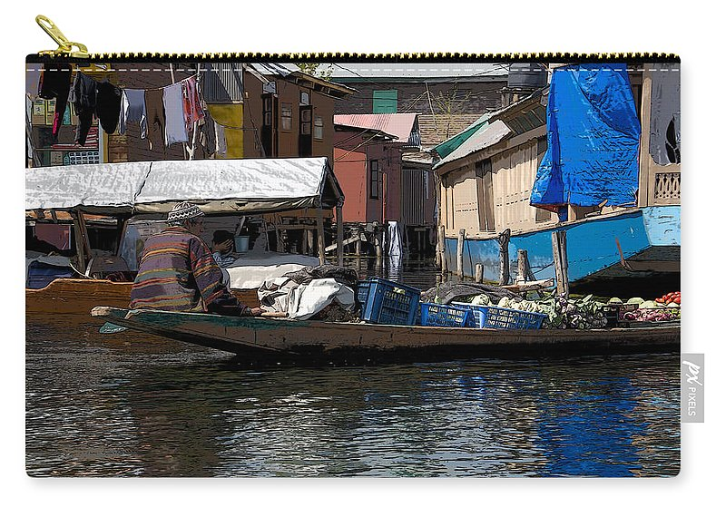 Canon Carry-all Pouch featuring the digital art Cartoon - Man Rowing Small Boat Laden With Vegetables In The Dal Lake In Srinagar by Ashish Agarwal
