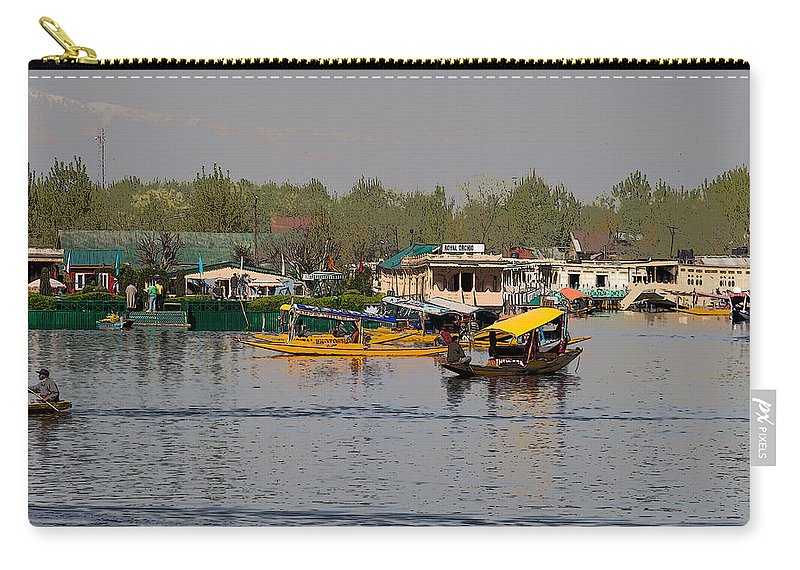 Beautiful Scene Carry-all Pouch featuring the digital art Cartoon - Shikaras And Houseboats Along With A Garden In The Dal Lake In Srinagar by Ashish Agarwal