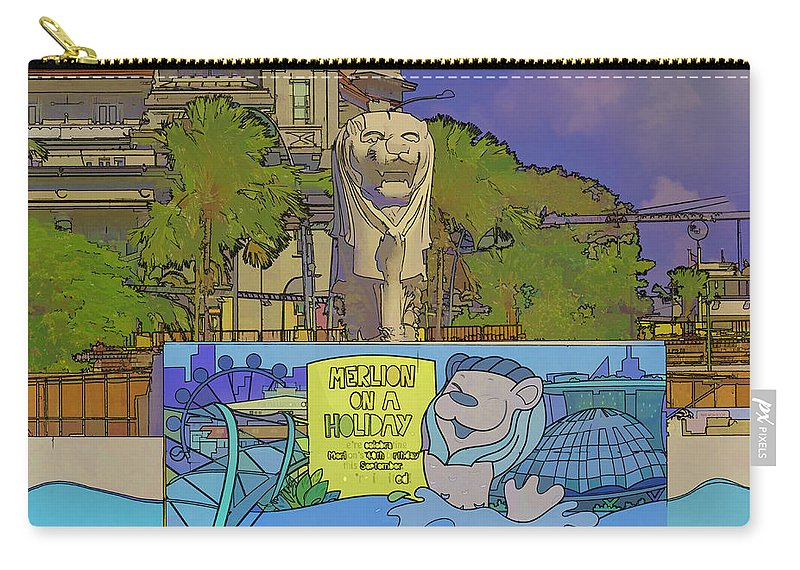 Action Carry-all Pouch featuring the digital art Cartoon - Statue Of The Merlion With A Banner Below The Statue by Ashish Agarwal