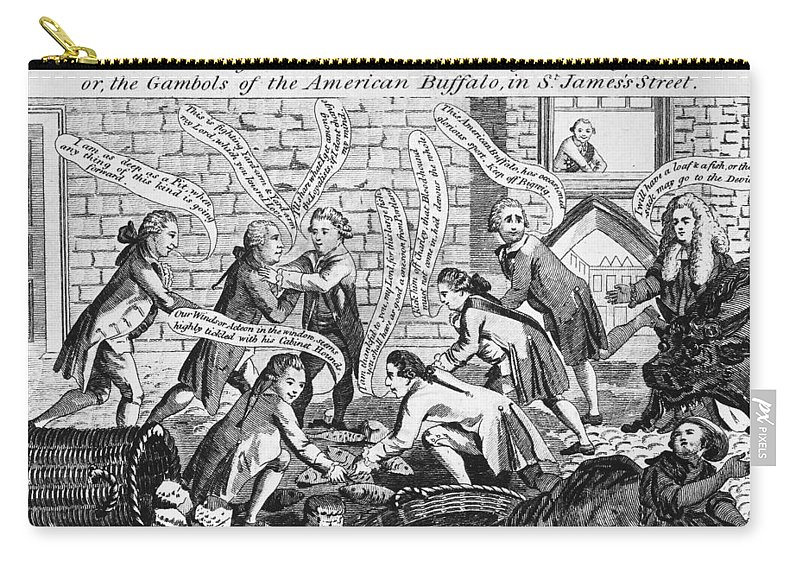 1783 Carry-all Pouch featuring the photograph Cartoon: John Bull, 1783 by Granger