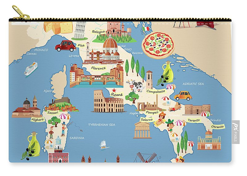 Adriatic Sea Carry-all Pouch featuring the digital art Cartoon Map Of Italy by Drmakkoy