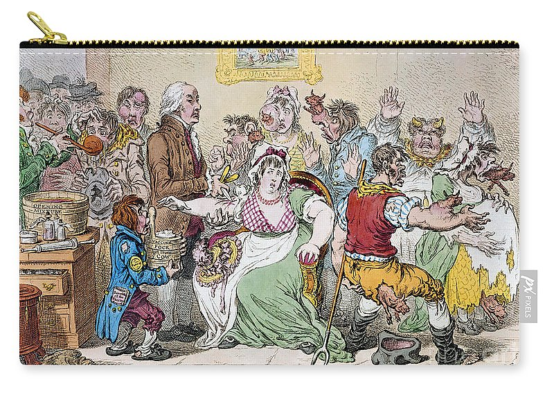 1802 Carry-all Pouch featuring the photograph Cartoon: Vaccination, 1802 by Granger