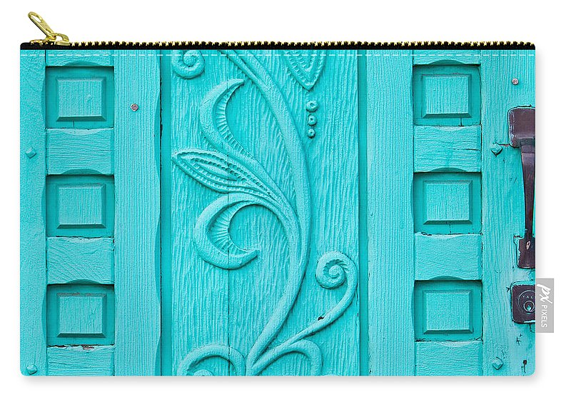Santa Fe Carry-all Pouch featuring the photograph Carved Turquoise Door by Art Block Collections