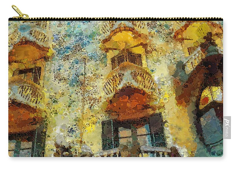 Casa Battlo Carry-all Pouch featuring the painting Casa Battlo by Mo T