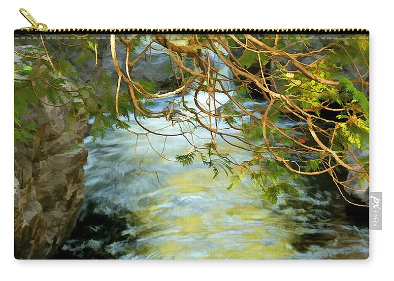 Cascade River Carry-all Pouch featuring the photograph Cascade Cedar by Bill Morgenstern