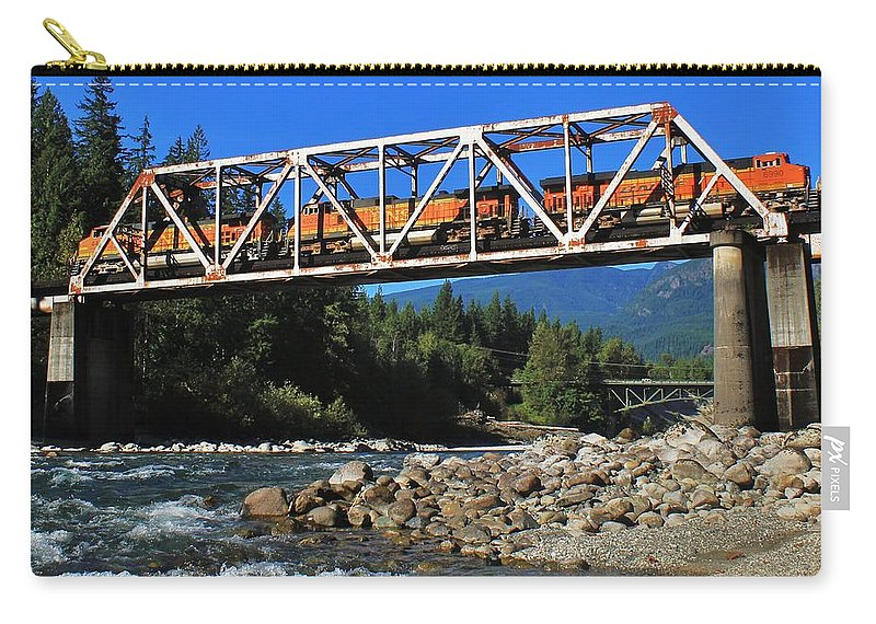 Washington Carry-all Pouch featuring the photograph Cascades Rail Bridge by Benjamin Yeager