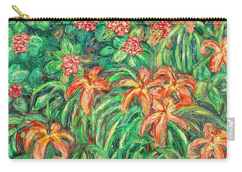 Flowers Carry-all Pouch featuring the painting Cascading Day Lilies by Kendall Kessler