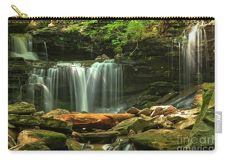 Ricketts Glen Waterfalls Carry-all Pouch featuring the photograph Cascading Through Glen Leigh by Adam Jewell