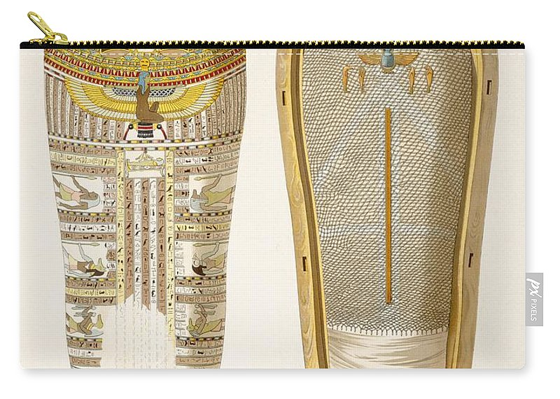 Mummy Carry-all Pouch featuring the drawing Case And Mummy In Its Cerements by American School