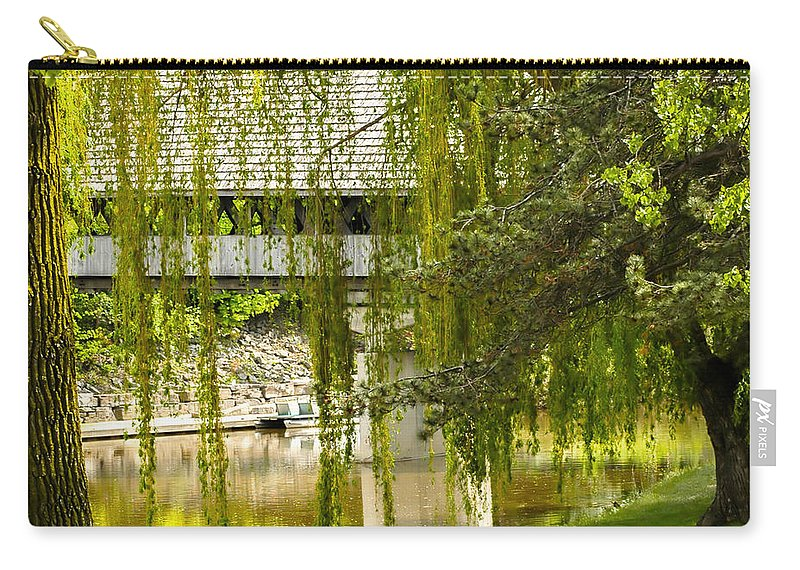 Cass River Frankenmuth Michigan Covered Bridge Carry-all Pouch featuring the photograph Cass River Frankenmuth Michigan by LeeAnn McLaneGoetz McLaneGoetzStudioLLCcom