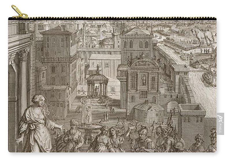 Prophetess Carry-all Pouch featuring the drawing Cassandra Foretells The Trojans Their by Bernard Picart