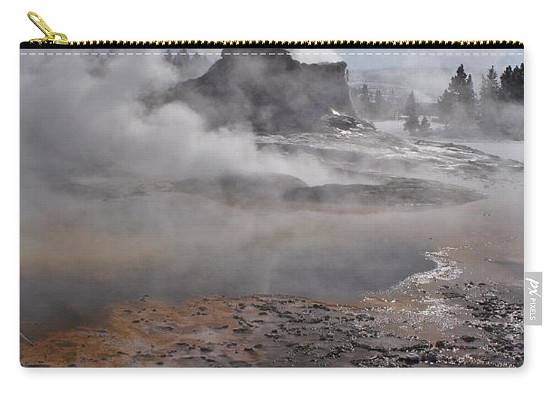 Castle Geyser In Winter Carry-all Pouch featuring the photograph Castle Geyser In Winter by Wes and Dotty Weber