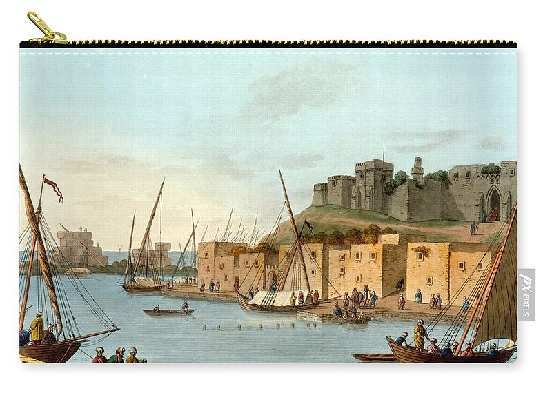 Castle Carry-all Pouch featuring the drawing Castle In The Island Of Torosa by Luigi Mayer