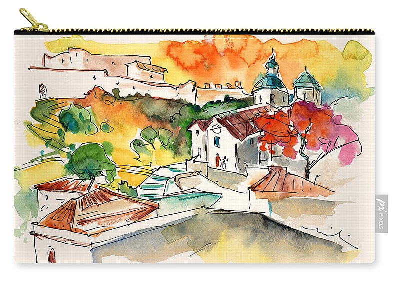 Portugal Carry-all Pouch featuring the painting Castro Marim 2008 0208 by Miki De Goodaboom